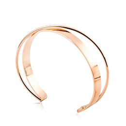 Wholesale 18k Solid White Gold Bangle - XS Tide Smooth Simple Gold Colors Bracelet Copper Double Solid Bangle for Women Bracelet Accessories