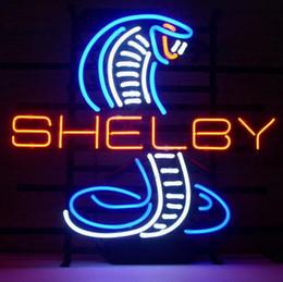 "Wholesale Cobra Light Bar - 17""x14"" Shelby Cobra Neon Light Sign Real Glass Beer Bar Store Shop Car Dealer"