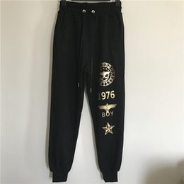 Wholesale Terry Pants For Boys - BOY LONDON Black Pants For Men Gold Silver Printed Loose Sweatpants Drawstring Waist Harem Pants Cotton Sports Trousers MSG0802
