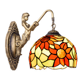 Wholesale Mosaic Glass Lamps - Package of glass art lighting Mediterranean mosaic special European pure mirror headlight glass wall lamp