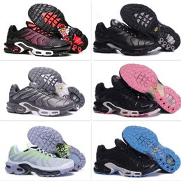 Wholesale Tn Trainers - Discount Womens Sneakers Classic Tn Women Running Shoes Black Red White Sports Trainer Air Cushion Woman Surface Breathable Casual Shoes