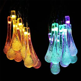 Wholesale Led Light Bulb Flashing - Led Christmas Lights Light String Bulbs New 2m 20 water drop Ball Warm White RGBY LED String Wedding Party Fairy Christmas