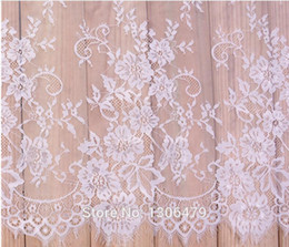 Wholesale french style clothes - 6 M   Lot French Eyelash Lace Fabric 150cm White Black Diy Exquisite Lace Embroidery Clothes Wedding Dress Accessories RS213