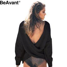 Wholesale Women Winter Sweater Outerwear - Wholesale-BeAvant Sexy v neck long sleeve knitted sweater Women black backless autumn winter 2016 pullover jumper pull femme outerwear