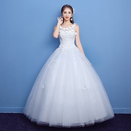 Wholesale 12 X 16 - 2017 New Wedding Dress elegant O-Neck Beading Flowers Sleeveless lace Embroidery Was Thin Sexy White Ball Gown-x