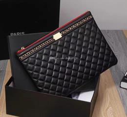 Wholesale Ipad Small - 2017 Wholesale genuine leather ipad case lambskin top quality classic makeup bag cosmetic cases original box zipper purse