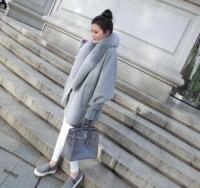 Wholesale Cheapest Women Long Winter Coat - Cheapest Coat Winter Newly Fashion Loose Fur Collar Woolen Coat Grey
