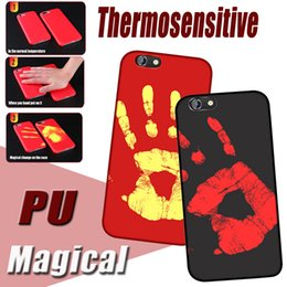 Wholesale Thermosensitive Color change Magical PU Fingerprint Temperature Sensing Thermal Sensor Heat Cover Case Shell For iPhone plus S S