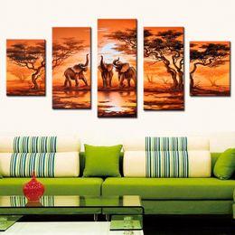 Telai di pittura ad olio moderna online-5 Pz / set Senza cornice Dipinto a mano Arte africana moderna Elefanti Live Wall Decoration Pictures Handmade Landscape Oil Painting