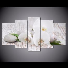 Óleo, pinturas, lona, orquídeas on-line-Nova orquídea Branca seixos 5 Painel de Pintura Da Lona Sem Moldura Casa Decoração Da Parede Arte Moderna Impressa Flores de Óleo Pinturas Para O Quarto