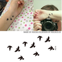 Wholesale Sexy Small Tattoos - Women Sexy Finger Wrist Flash Fake Tattoo Stickers Liberty Small Birds Fly Design Waterproof Temporary Tattoos Sticker HC1073