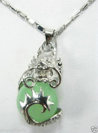 "Wholesale Green White Dragon - Natural Light Green Jade Dragon Ball White Silver Plated Pendant +chain 17""AAA"