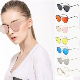 Wholesale Cat Eyes Film - Luxury sunglasses for women Europe ae United Statnd thes fashion trend cat eye sunglasses metal color film glasses Need box please message