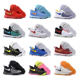 Wholesale Mens Shoes Durant - 2017 Air Zoom KD 9 IX Mens Basketball Shoes Oreo Grey Wolf Kevin Durant 9s KD9 Men's Training Sports Sneakers Warriors Home Size 40-46