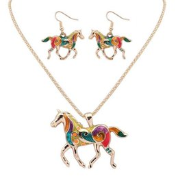 Wholesale Rainbow Silver Crystal Earrings - Fashion Ethnic Jewelry Sets DHL Rainbow Horse Pendant Necklace Drop Earrings Gold Silver Colorful Drip Charm Gift for Women Bohemian Style