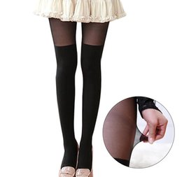 Wholesale Tattoo Stocking Girls - Wholesale- 2016 Cute Girl Women Sexy Sheer False High Stocking Pantyhose Fashion Over the Knee Tattoo Tights HOT
