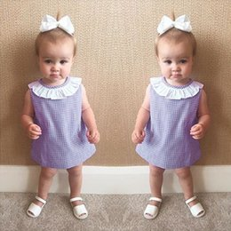 Wholesale Cheap Maternity Clothes Summer - 2017 Ins Baby girl dresses Cape collar Plaid sleeveless dress Toddler clothing Infants Boutique Maternity 100%cotton Cheap price wholesale