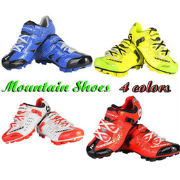 Wholesale Red Mountain Bike Shoes - Hot Mens Bike Mountain MTB Shoes Breathable Bicycle Cycling Athletic Sneaker Outdoor Shoe Sport 4Color US7.5-13