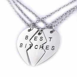 Wholesale sales forever - Best Bitches Friend forever Pendant Necklace Hot Sale New Style Three-part two part broken heart Fine BFF Jewelry Jewelry