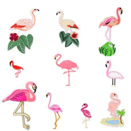 Wholesale Clothing Patches Wholesale - 10PCS Hot Sale Flamingo Patches for Clothing Iron on Transfer Applique Fashion Patches for Jeans Bags DIY Sew on Embroidery Stickers