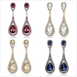 Wholesale Vintage Yellow Earrings - Vintage Dangling Earrings Red Yellow White Blue Crystal Teardrop Hanging Earrings Women Jewelry Gifts Drop Earrings