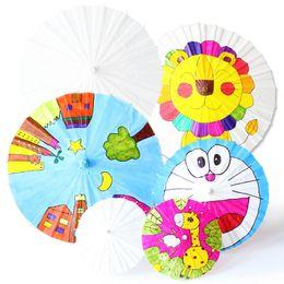 Wholesale Painted Paper Art - Blank Paper Umbrella Children DIY Hand Painting Nursery School Primary Art Craft Umbrellas The Straight Rod 1 95 8zy4 F