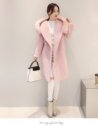 Wholesale Women Slim Cloth - New winter new cloth coat female simulation fox collars coat Long Women's Cashmere Coat European Fashion Jacket Outwear
