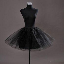 Wholesale Tulle Wedding Dress Slips - Cheap Women's White Black A-line Short Tulle Petticoat For Prom Wedding Dresses Crinoline Mini Underskirt For Party Cocktail Ruffle