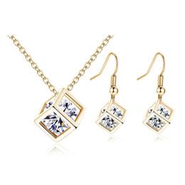 Wholesale Wholesale Indian Bridal Necklace Set - hip hop jewelry New Fine Women Romantic Cube AAA Zircon Silver Gold Wedding Jewelry Earring Necklace Bridal Jewelry Set cross necklaces