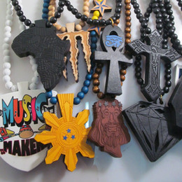 Wholesale Dancer Jewelry Necklace - Clearance Sale!ANHK Cross Jesus Africa Map Diamond Mixed Styles Dancer Good Wood NYC Hip-Hop Wooden Wood Necklace Fashion Jewelry Wholesale