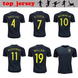 Wholesale Dark Green Jersey - 2017 New Brazil jersey NEYMAR JR thai quality 17 18 Brazil third Dark green PELE OSCAR D.COSTA DAVID LUIZ football shirt