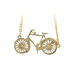 Wholesale Cute Friendship Gifts - Wholesale-Womens 18K Gold Plated GP Jewelry Cute Bike Pendant Necklace gift for Girls Kids Friendship EF02