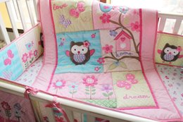Wholesale Pink Owl Crib Bedding - NEW NAUGHTYBOSS Girl Baby Bedding Set Cotton 3D Embroidery Owl Bird Quilt Bumper Bedskirt Fitted Urine bag 8 Pieces Set Pink Color