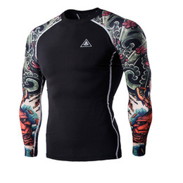 Wholesale Tattoo Sleeve T Shirts Men - Wholesale- T-shirts Men's Digital Printing Fitness Quick-drying Clothes Wear Long Sleeve Tattoo T shirts Man Fitness Clothing Male Tops XXL