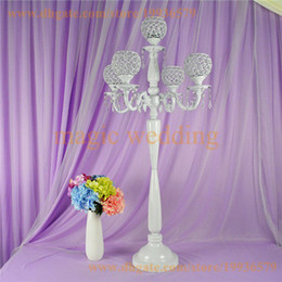 Wholesale Tall Candle Holders For Weddings - 5 Arm white Crystal Globe Candelabra 100cm Tall For Home & Wedding Decoration, 10pcs of one lot