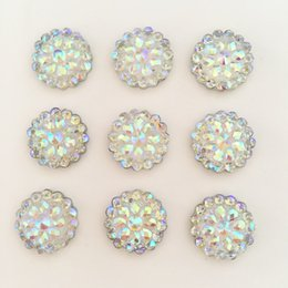 Wholesale Diamonds Flatback - (20 pieces lot) Bling AB Resin Round Flatback Rhinestone Buttons 2 Hole Clothing DIY accessories D385