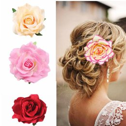Wholesale Wholesale Flower Brooch Hair Clip - 2017 Spring New Listing Wedding hairstyle Bridal Rose Flower Hairpin Brooch Party Bridesmaid Hair Clip Hair Band Accessories