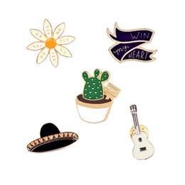"Wholesale Guitars Heart - Wholesale- Fashion Hat Guitar Cactus ""Win my heart"" Flower Enamel Brooch Pins Badge Metal Girls Women Jeans Bag Decoration Brooches Jewelry"