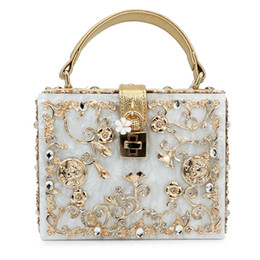 Wholesale Ivory Flower Purse - Wholesale-women lady gold diamond relief Acrylic Ballot lock luxury handbag evening bag clutch for party purse (C003)