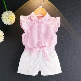 fd099ebdc6c HUG ME Baby Girls pretty Pure cotton T-Shirt + short pants 2pcs Fly sleeve  Suits 2017 new children kids Hollow out lace bow fashion Outfits