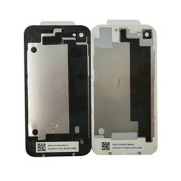 Wholesale Iphone 4s Back Covers - 10pcs lot High quality New GLASS Battery door Back Cover Housing Replacement Part For iPhone 4 4G 4S