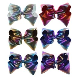 Wholesale Hair Design - 8 Inch Laser Rainbow Ombre Leather Large Hair Bow On Clip Teens Kid Girl New Design Jumbo Hair Clip