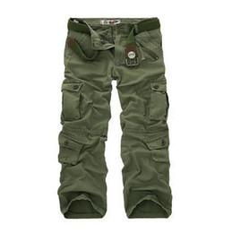 Wholesale Mens Work Cargo Pants - Plus size Men's straight loose trouses Fashion Designer Mens work tooling pants more pockets ARMY CARGO CAMO COMBAT worker pants men