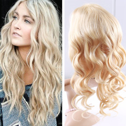 Wholesale Platinum Long Wigs - Brazilian Blonde 613 Virgin Human Hair Lace Front Wig With Baby Hair Platinum Russian Body Wave Glueless Full Lace Wig Free Parting