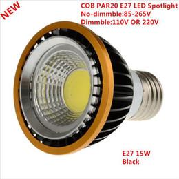 Wholesale Black Led Downlight - PAR20 COB Spotlight Dimmable GU10 E27 High Power 9w 15w Led Light Downlight Led Bulb Blabk Silver