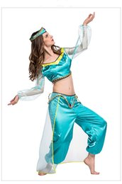 Wholesale Princess Jasmine Costumes For Women - princess jasmine costume women adult Aladdin's Princess Jasmine cosplay halloween costumes for women Belly dance clothes wholesale