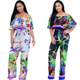 Wholesale Legging Jumpsuits - Multi-Color Ruffle Off Shoulder Wide Legs Jumpsuit and Rompers Fashion
