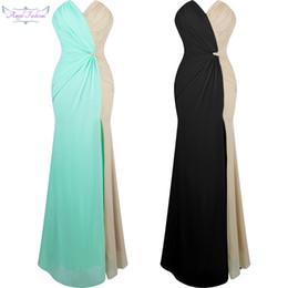 cf1e90edfb7 Angel-Fashions Femmes V Cou Ruching Contraste Couleur Fendue Parti Robe De  Bal Nouvelle Arrivée Vert Noir A-257