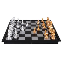 Wholesale portable chess - 8 Inch Plastic Chess Set Silver Gold Mini Foldable Board Game Chess Piece Party Classic Checkers For Families Kid Party Portable