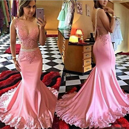 Wholesale Removable Train Prom Dress - Charming Pink Mermaid Prom Dresses With Removable Pearls Belt 2017 Sheer Neck Lace Appliques Back See Through Evening Gowns Party Dress
